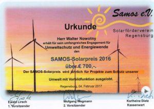 Urkunde Samos Solarpreis 2016